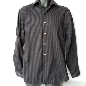 Claiborne Button Down Shirt Mens Medium Black Blue